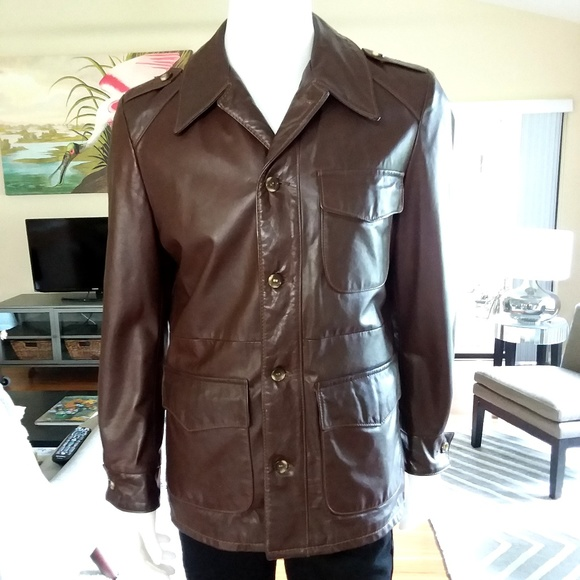 4f9a20ebc54 Mens Brown Leather Field Jacket Size 40 / Medium. M_5be88a5d2e1478cae2f9e9d7